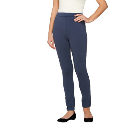 Susan Graver Weekend French Knit Ankle Leggings with Zipper Detail