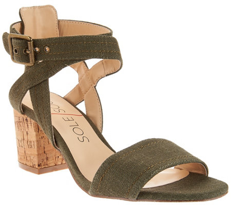 Sole Society Ankle Strap Block Heel Sandals - Zahara