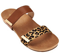 Vionic Orthotic Leather and Haircalf Slide Sandals - Jura - A275388