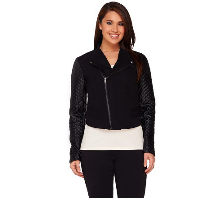 """As Is"" View by Walter Baker Jacket with Faux Leather Quilted Sleeves"