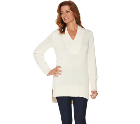 Isaac Mizrahi Live! Crossover V-neck Sweater Tunic