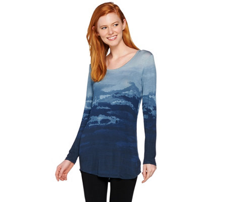 Lisa Rinna Collection Long Sleeve Printed Knit Top