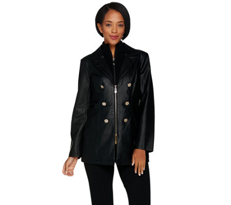 Dennis Basso Faux Leather Jacket with Removable Knit Collar