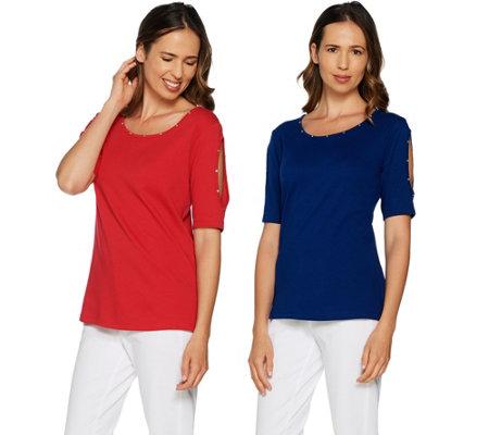 ef8364cd0daa8 Quacker Factory Set of Two Rhinestone Split Sleeve Knit T-shirts ...