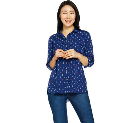 "C. Wonder Anchor Print Button Front ""Carrie"" Blouse"