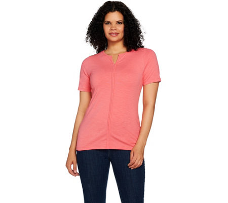 Denim & Co. Short Sleeve Y-Neck Top with Front Seam Detail