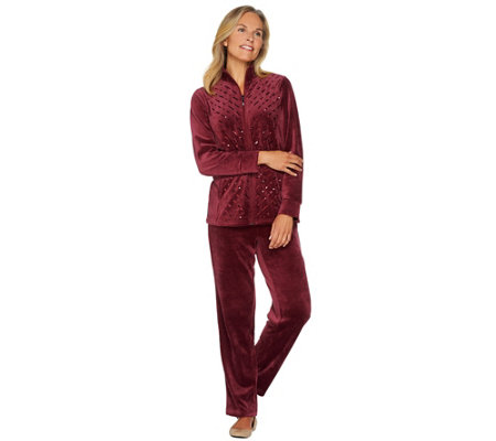 """As Is"" Quacker Factory Velour Sequin Jacket and Pants Set"