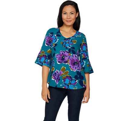 Studio by Denim & Co. Floral Print 3/4 Bell Sleeve Woven Top