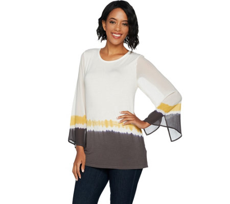Lisa Rinna Collection Tie Dye Knit Top with Sheer Sleeves