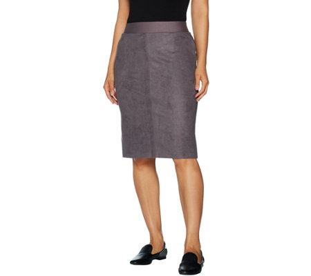 LOGO by Lori Goldstein Faux Suede Pencil Skirt w/ Ponte Waistband