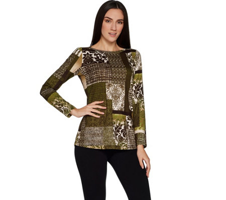 Susan Graver Printed Brushed Liquid Knit Long Sleeve Top