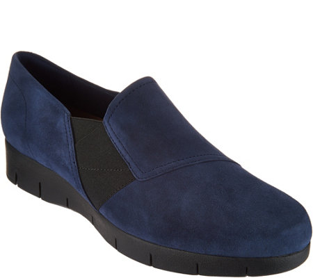 """As Is"" Clarks Artisan Suede Slip-on Shoes Daelyn Monarch"