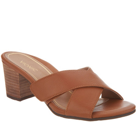 Vionic Leather Cross Strap Heel - Lorne fashion Style cheap price outlet find great many kinds of online tRfC187SQ8