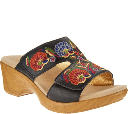 Alegria Embroidered Leather Slip-on Wedge Sandals - Linn