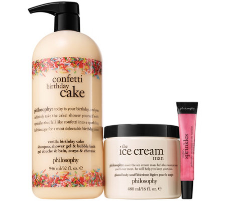 philosophy confetti birthday cake 3-piece bath & body kit
