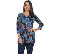 Attitudes by Renee Como Jersey 3/4 Sleeve Printed Tie Front Tunic - A310788