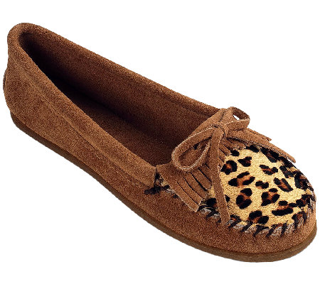 Minnetonka Suede leather Moccasins - Leopard Kilty