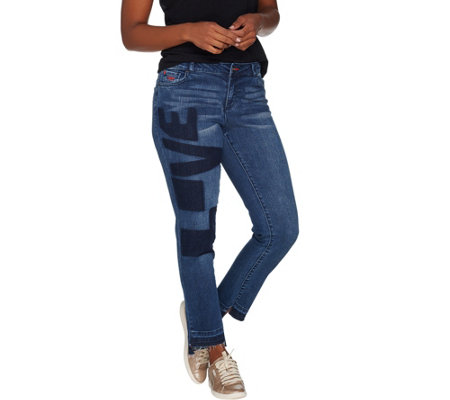 """As Is"" Peace Love World Washed L.O.V.E. Denim Jeans with Fringe Hem"