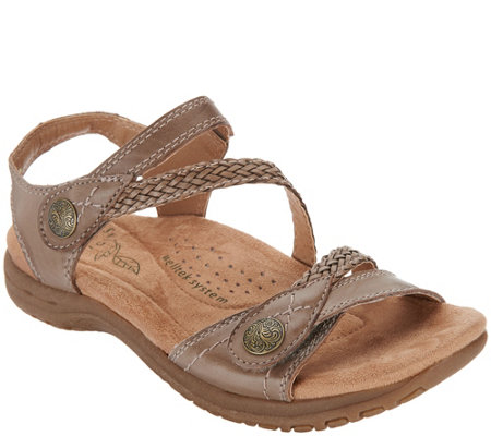 """As Is"" Earth Origins Leather Adjustable Sandals- Salina"