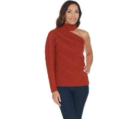G.I.L.I. One Shoulder Cable Knit Sweater
