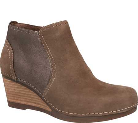 Dansko Leather Wedge Booties - Susan