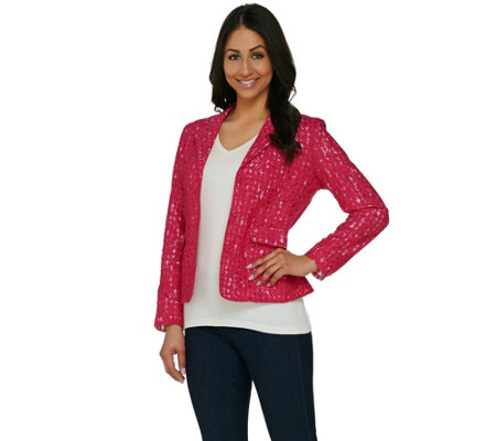 """As Is"" Kelly by Clinton Kelly Lace Jacket with Gingham Lining"
