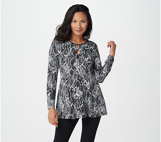 Susan Graver Printed Liquid Knit Fit and Flare Tunic