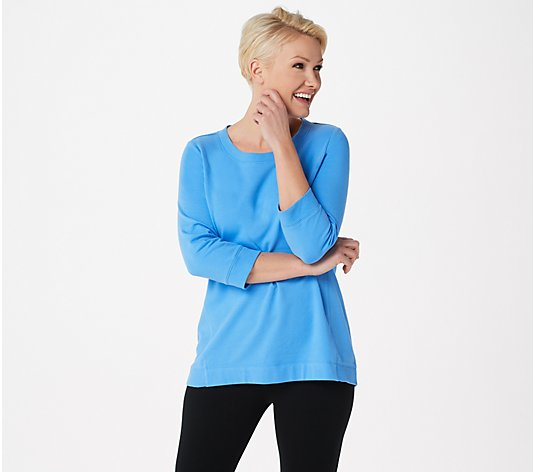 """As Is"" Denim & Co. Active French Terry 3/4-Sleeve Top with Rib Trim"