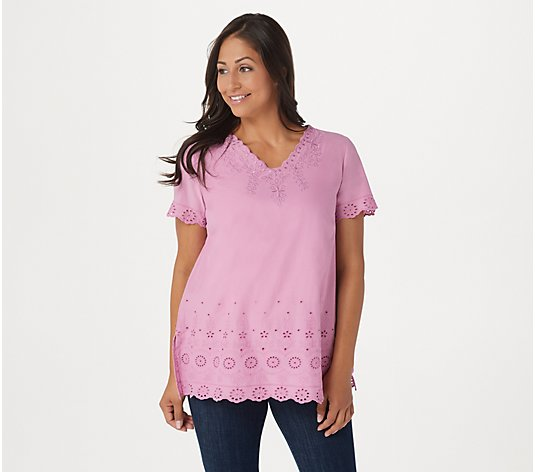 """As Is"" LOGO by Lori Goldstein Embroidered Top & Slub Tank Twin Set"