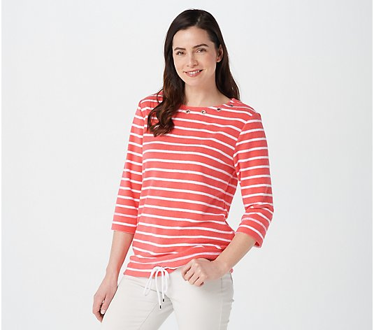 Quacker Factory Striped 3/4 Sleeve Terry Cloth Top with Grommets