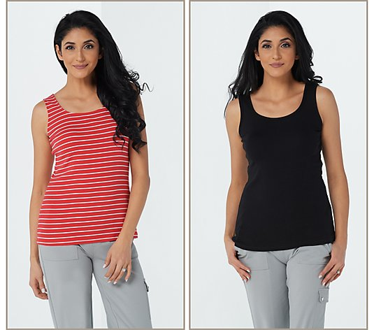 Susan Graver Modern Essentials Set of 2 Cotton Rib Tank Tops