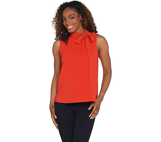 """As Is"" Vince Camuto Sleeveless Satin Back Tie- Neck Blouse"