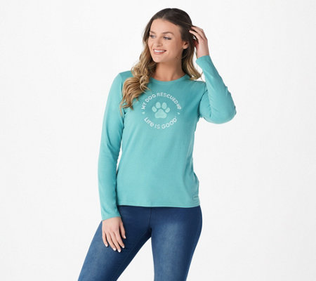 """As Is"" Life is Good Women's Pet Long Sleeve Crusher Tee"