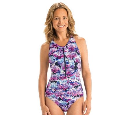 Dolfin Aquashape Print Zip Front 1 Pieceswimsuit