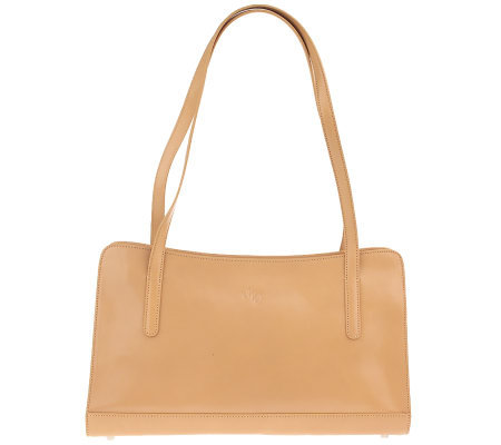Monsac Smooth Italian Leather Double Handle Shoulder Bag