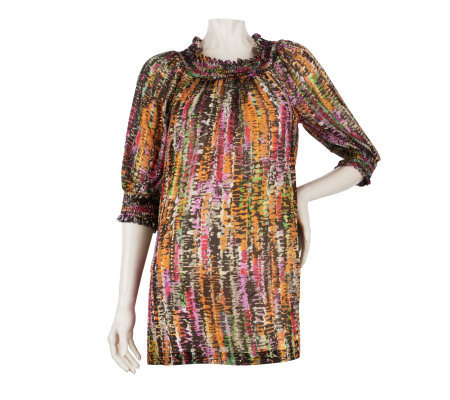George Simonton Printed Top with Smocked Neckline and Cuffs