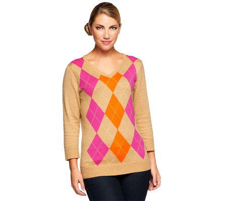 Denim & Co. 3/4 Sleeve V-neck Argyle Sweater