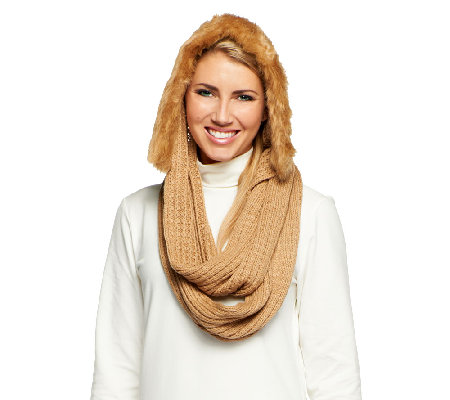 Dennis Basso Knit Hooded Infinity Scarf w/ Faux Fur