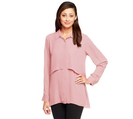 Joan Rivers Button Front Layered Blouse