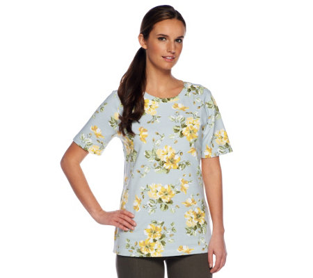 Denim & Co. Active Short Sleeve Floral Print Pull-over