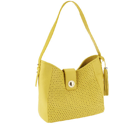 """As Is"" Isaac Mizrahi Live! Bridgehampton Perforated Leather Hobo"