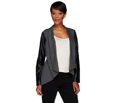 Women with Control Knit Jacket with Faux Leather Sleeves