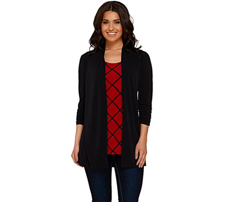 Susan Graver Liquid Knit 3/4 Sleeve Cardigan with Printed Tank