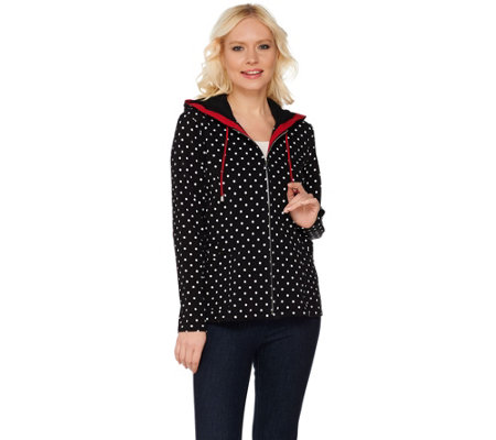 Susan Graver Weekend Polka Dot Printed French Terry Hooded Jacket