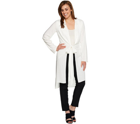 H by Halston Long Sleeve Hi-Low Tunic with Extended Self Tie