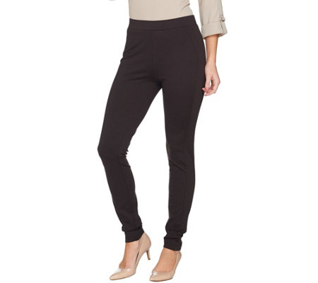 Susan Graver Ponte Knit Leggings with Seaming Detail