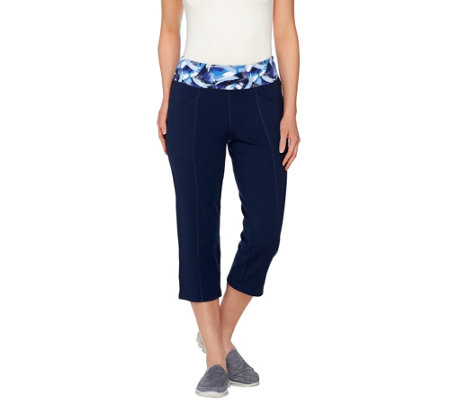 """As Is"" Denim & Co. Active French Terry Capri Pants w/ Printed Waist"