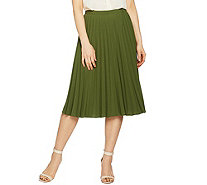 Linea by Louis Dell'Olio Faux de Chine Pleated Pull-On Skirt - A288389
