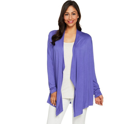 LOGO Layers by Lori Goldstein Draped Front Cardigan with Back Pleats