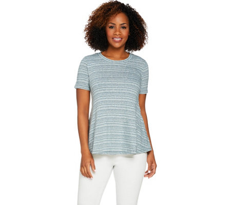 Logo By Lori Goldstein Slub Knit Stripe Swing Top W Pockets